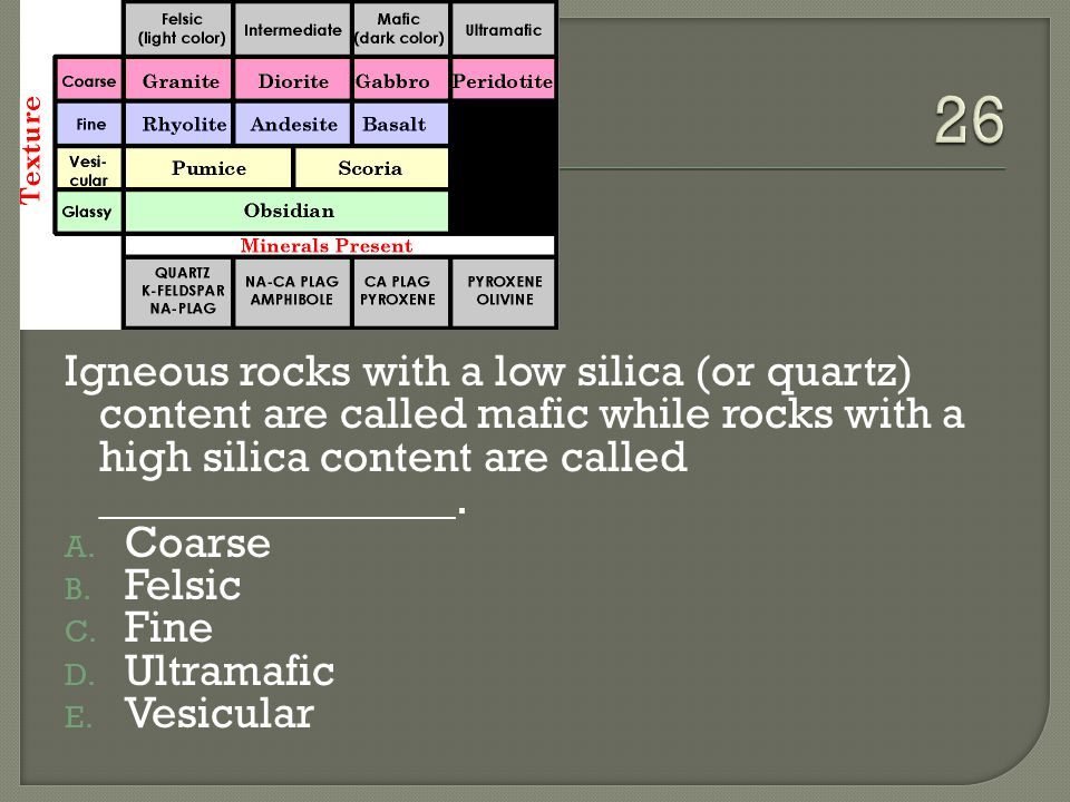 26 Igneous rocks with a low silica (or quartz) content are called mafic while rocks with a high silica content are called ________________.