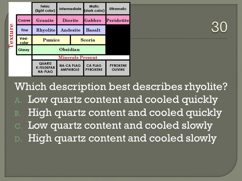 30 Which description best describes rhyolite