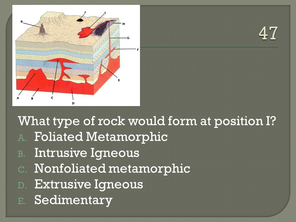 47 What type of rock would form at position I Foliated Metamorphic