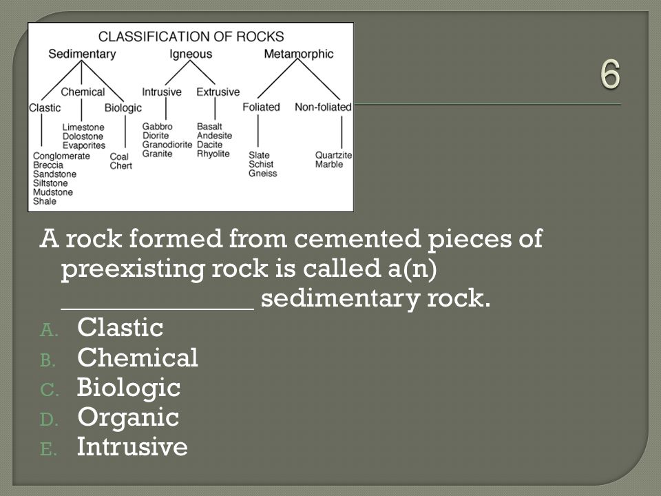 6 A rock formed from cemented pieces of preexisting rock is called a(n) ______________ sedimentary rock.
