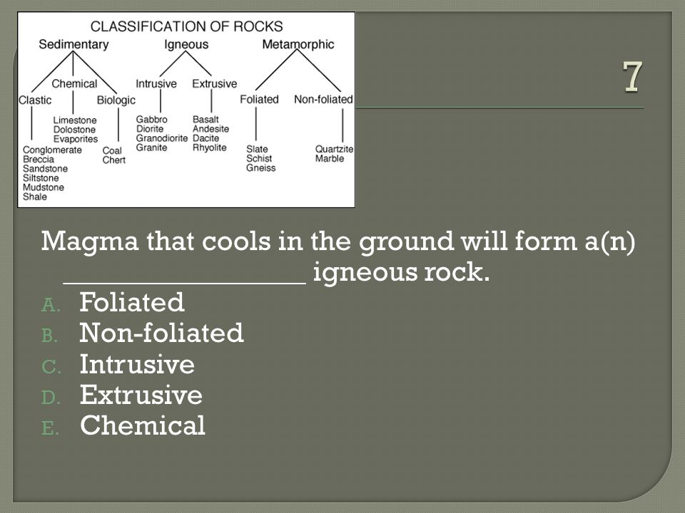 7 Magma that cools in the ground will form a(n) _________________ igneous rock. Foliated. Non-foliated.