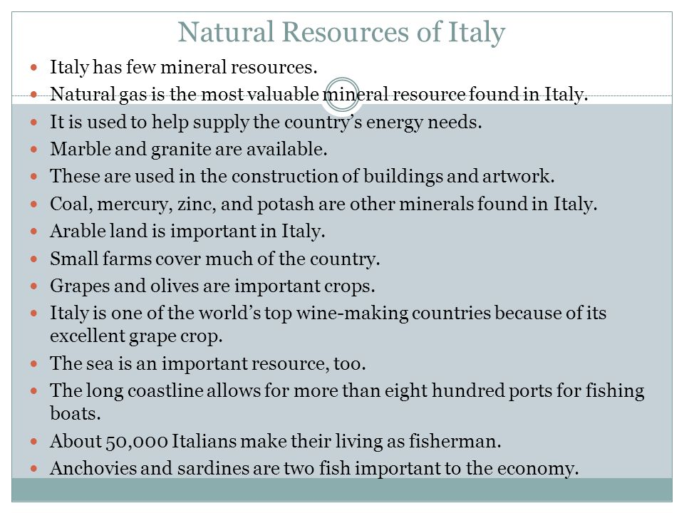 Natural Resources of Italy