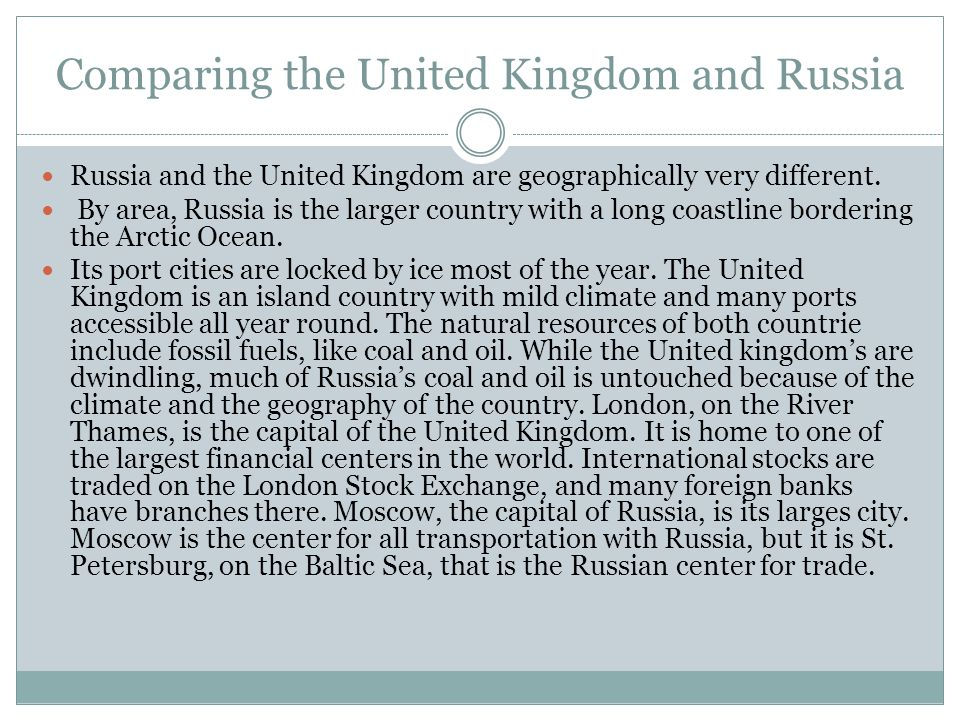 Comparing the United Kingdom and Russia