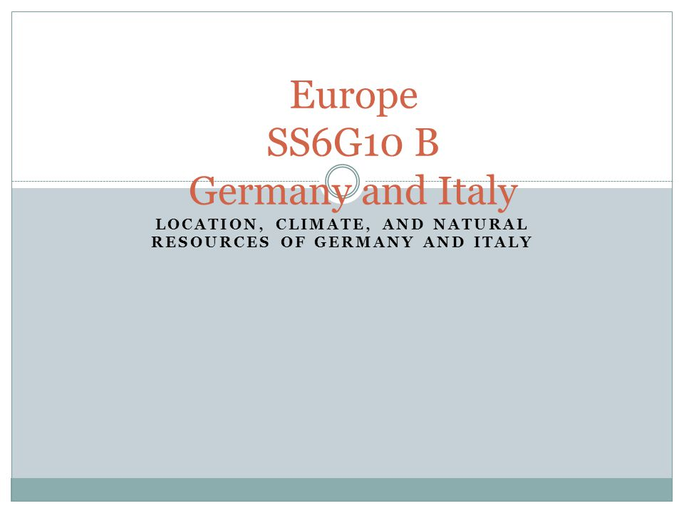 Europe SS6G10 B Germany and Italy