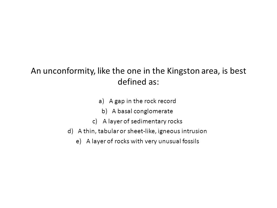 An unconformity, like the one in the Kingston area, is best defined as: