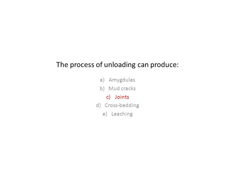 The process of unloading can produce: