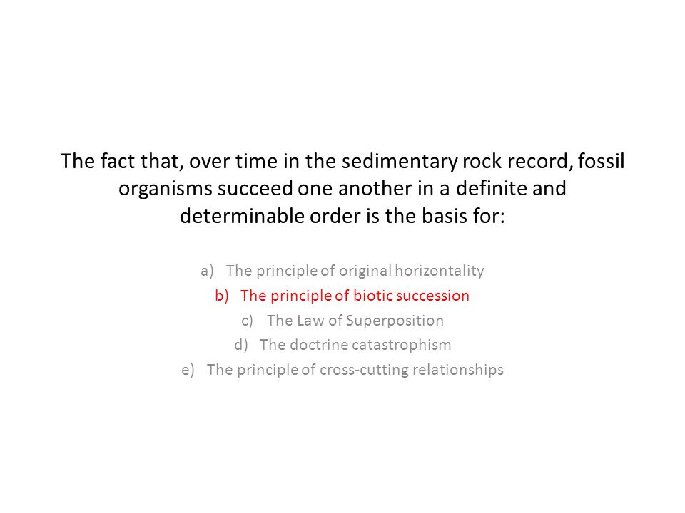 The fact that, over time in the sedimentary rock record, fossil organisms succeed one another in a definite and determinable order is the basis for: