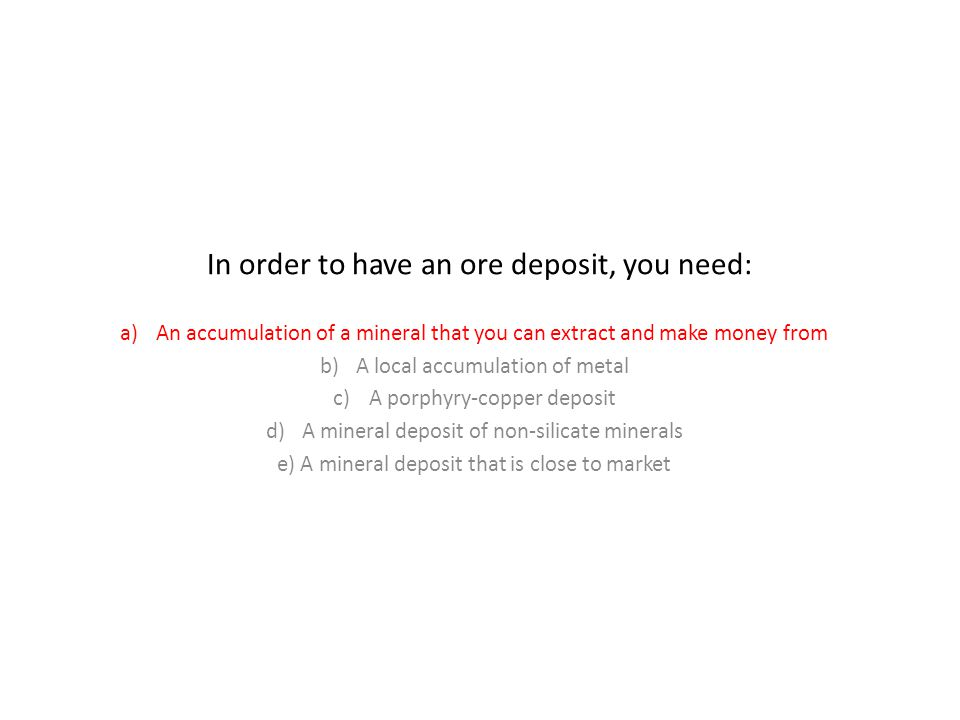 In order to have an ore deposit, you need: