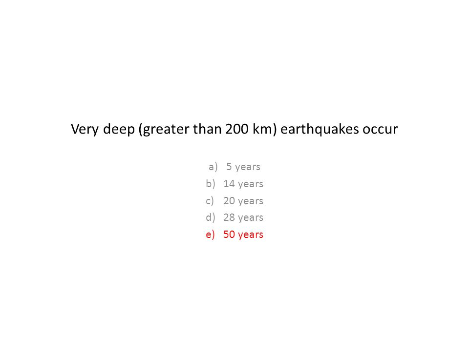 Very deep (greater than 200 km) earthquakes occur