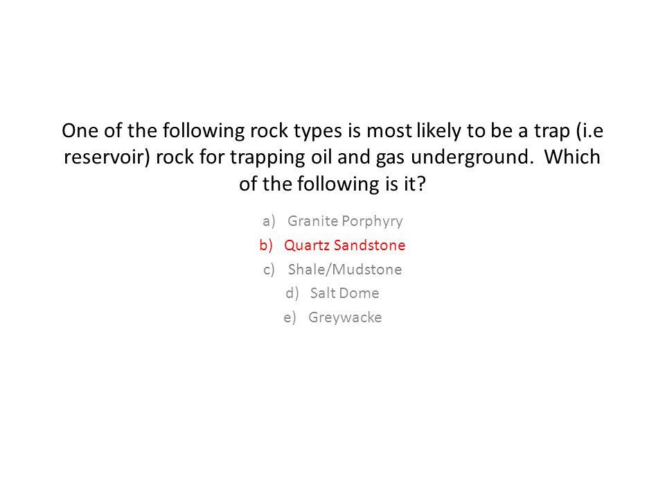 Granite Porphyry Quartz Sandstone Shale/Mudstone Salt Dome Greywacke