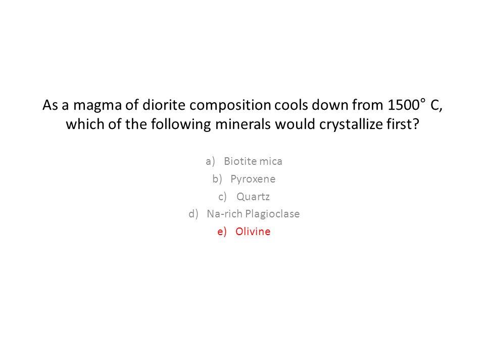Biotite mica Pyroxene Quartz Na-rich Plagioclase Olivine