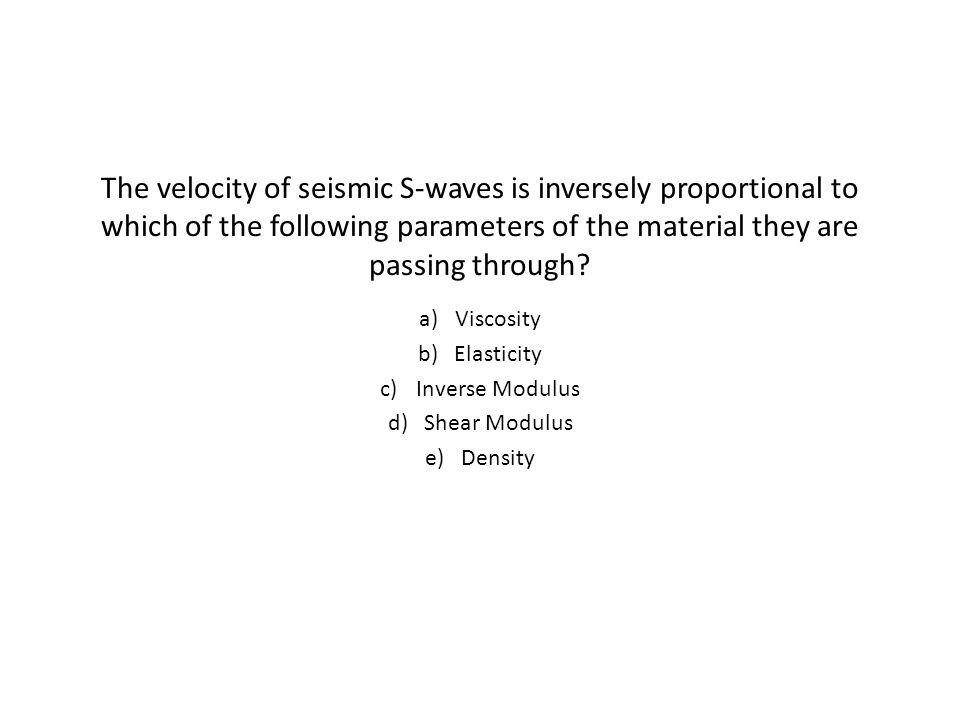 Viscosity Elasticity Inverse Modulus Shear Modulus Density