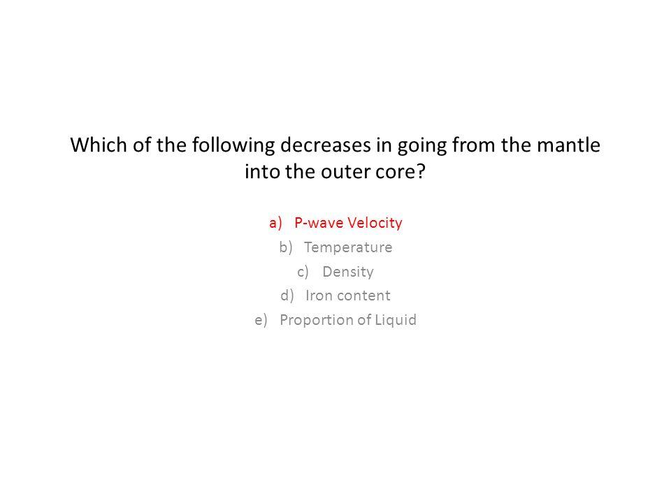 P-wave Velocity Temperature Density Iron content Proportion of Liquid