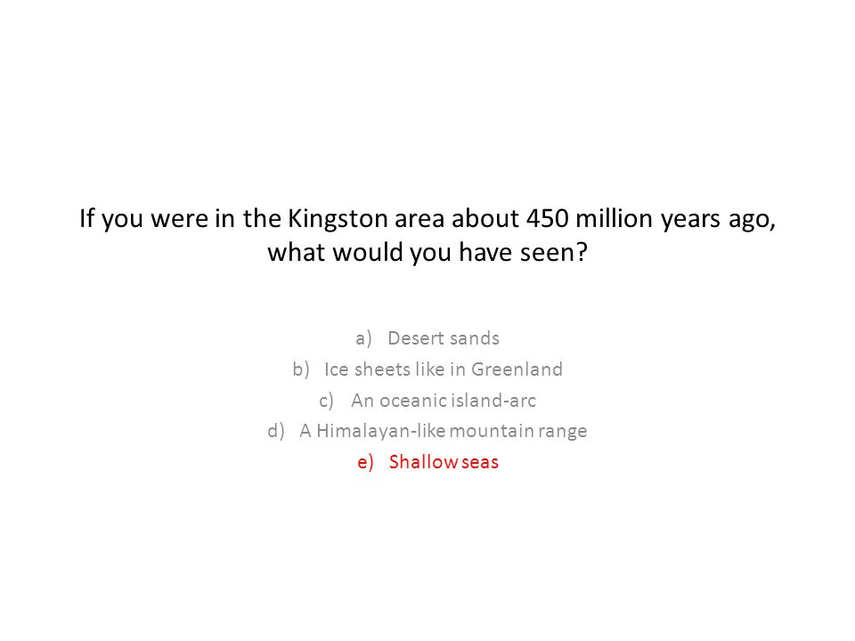 If you were in the Kingston area about 450 million years ago, what would you have seen
