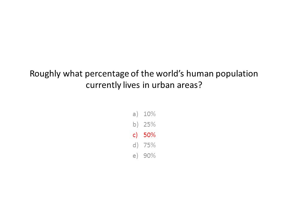 Roughly what percentage of the world's human population currently lives in urban areas