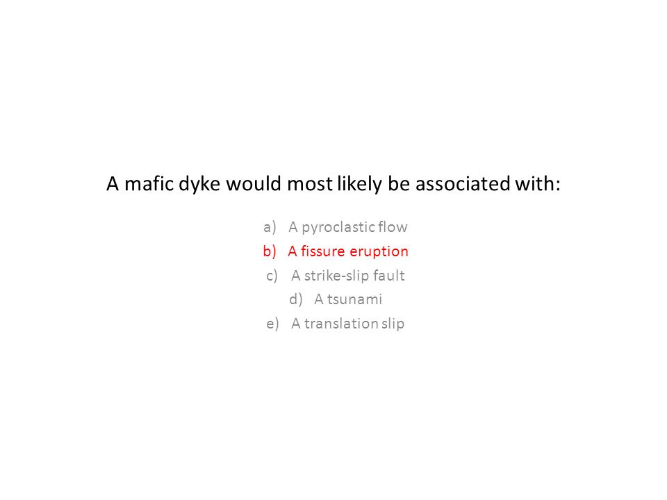 A mafic dyke would most likely be associated with: