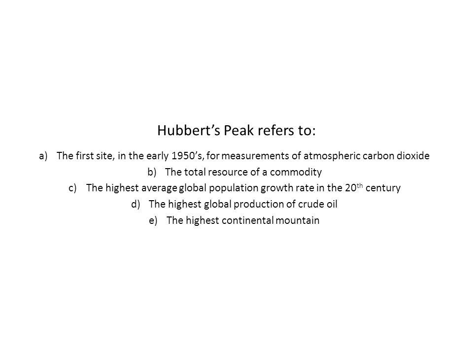 Hubbert's Peak refers to: