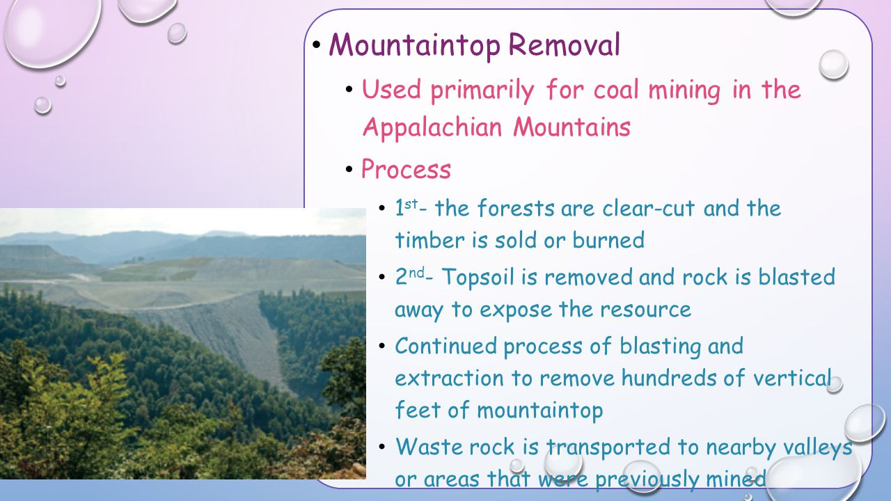 Mountaintop Removal Used primarily for coal mining in the Appalachian Mountains. Process.