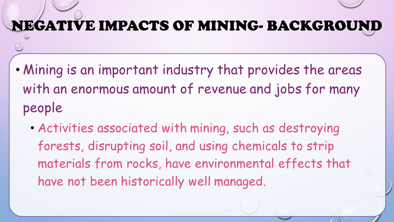 Negative Impacts of Mining- Background