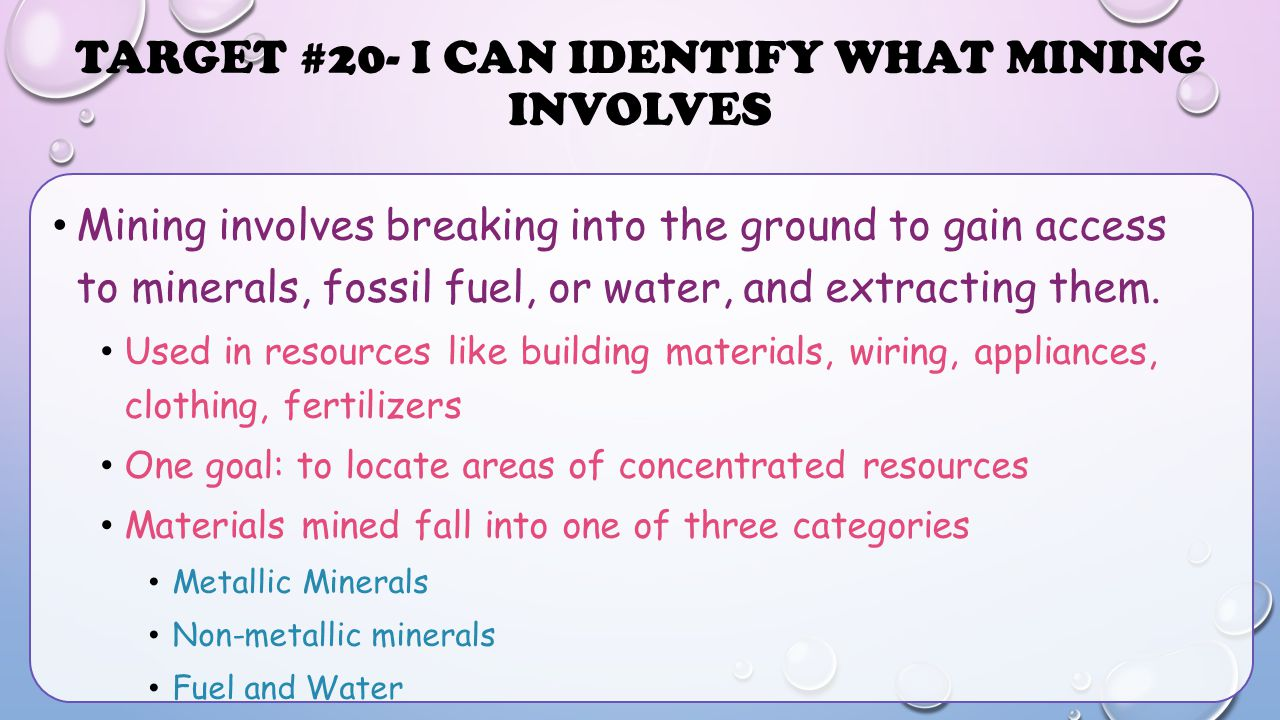 Target #20- I can identify what mining involves