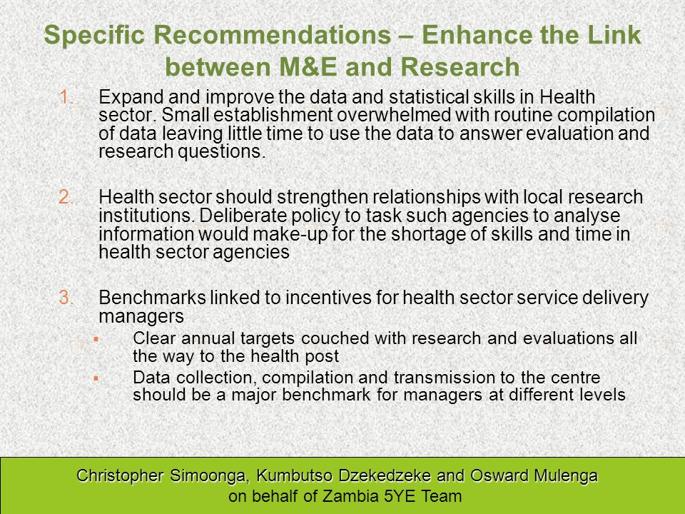 Specific Recommendations – Enhance the Link between M&E and Research