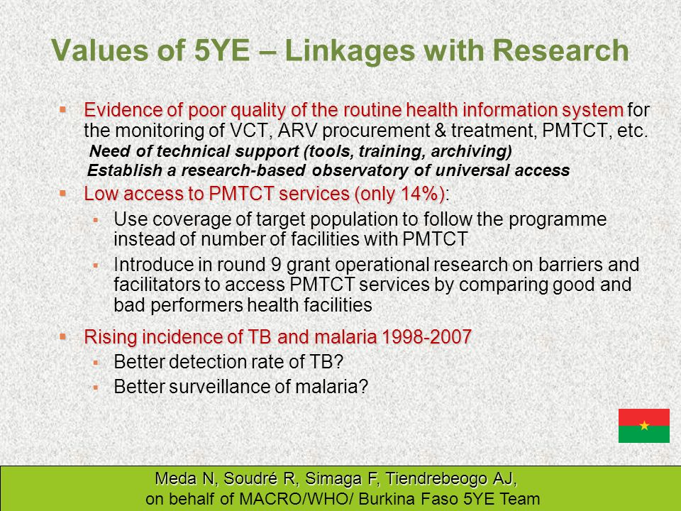 Values of 5YE – Linkages with Research