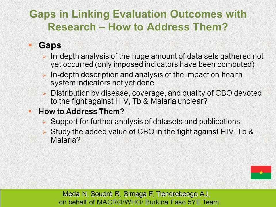 Gaps in Linking Evaluation Outcomes with Research – How to Address Them