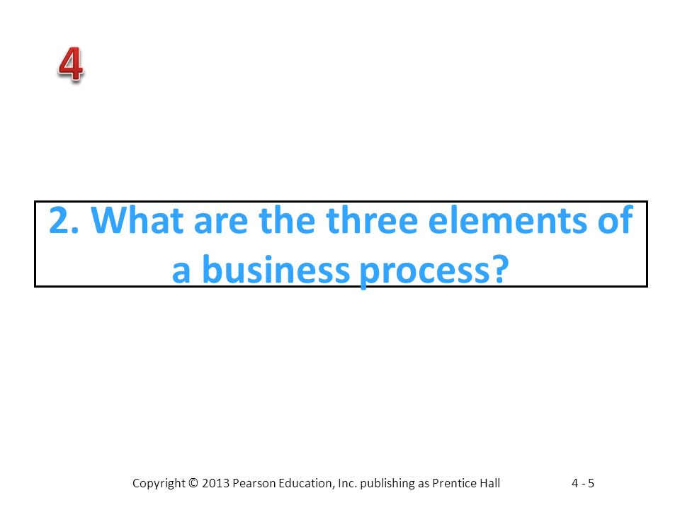 2. What are the three elements of a business process