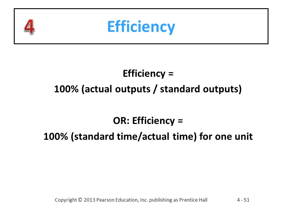 Efficiency Efficiency = 100% (actual outputs / standard outputs)