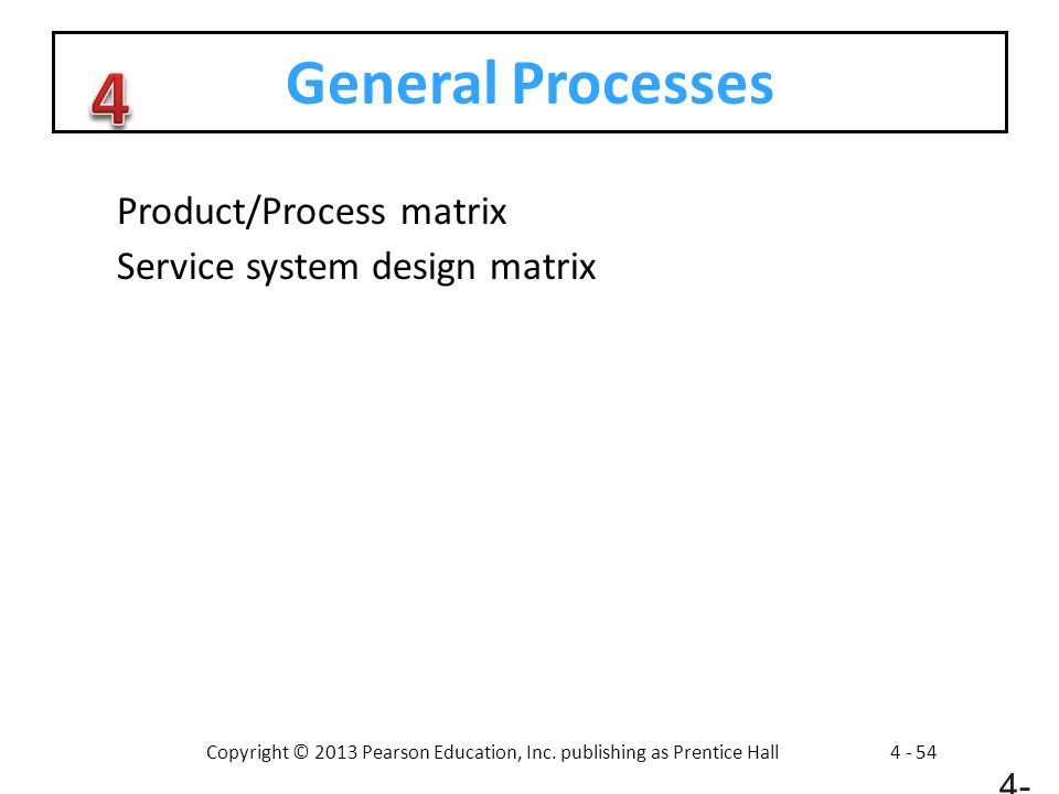 General Processes Product/Process matrix Service system design matrix