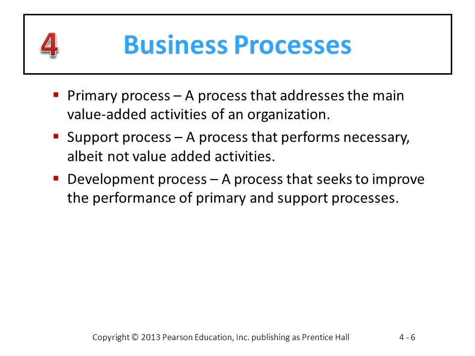 Business Processes Primary process – A process that addresses the main value-added activities of an organization.