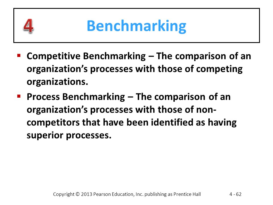 Benchmarking Competitive Benchmarking – The comparison of an organization's processes with those of competing organizations.