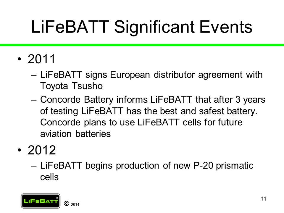 LiFeBATT Significant Events