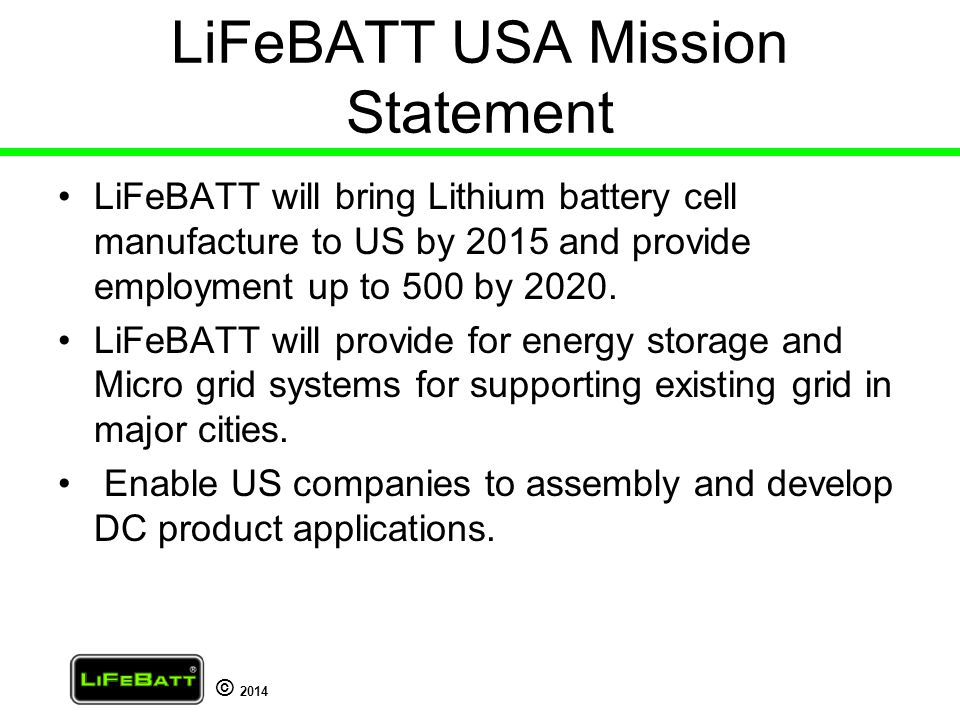 LiFeBATT USA Mission Statement
