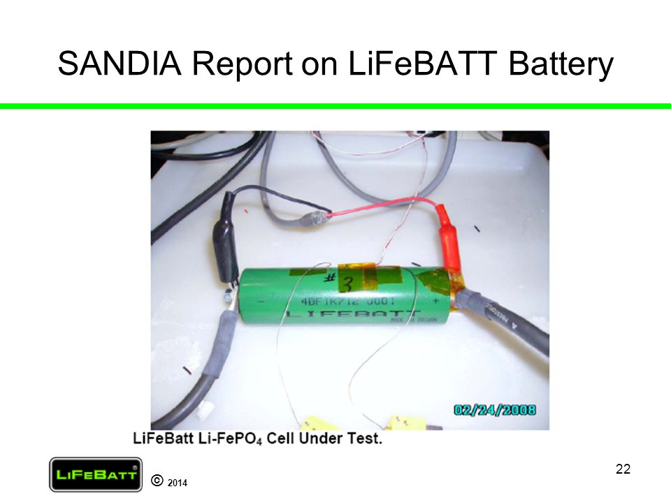 SANDIA Report on LiFeBATT Battery