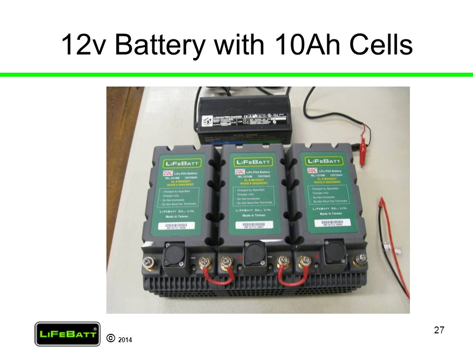 12v Battery with 10Ah Cells