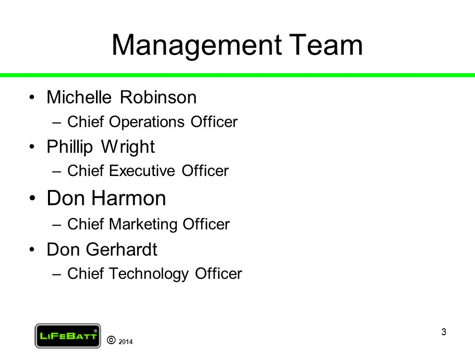 Management Team Don Harmon Michelle Robinson Phillip Wright