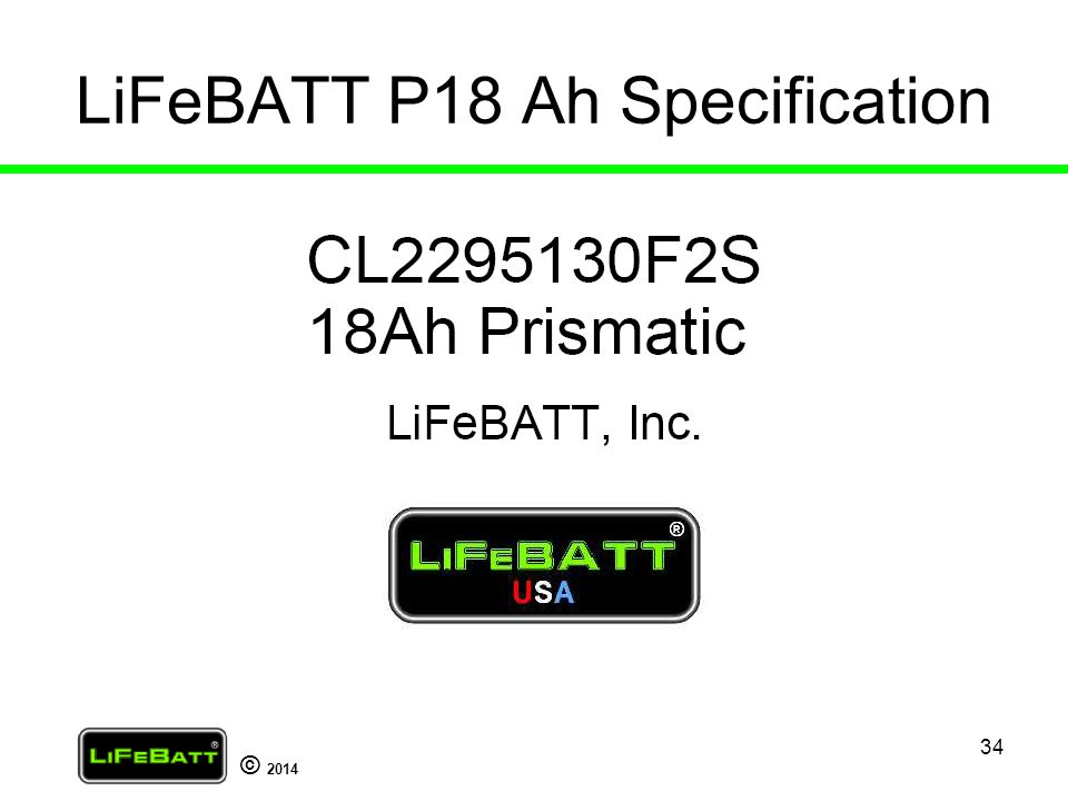 LiFeBATT P18 Ah Specification