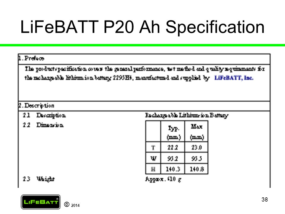 LiFeBATT P20 Ah Specification