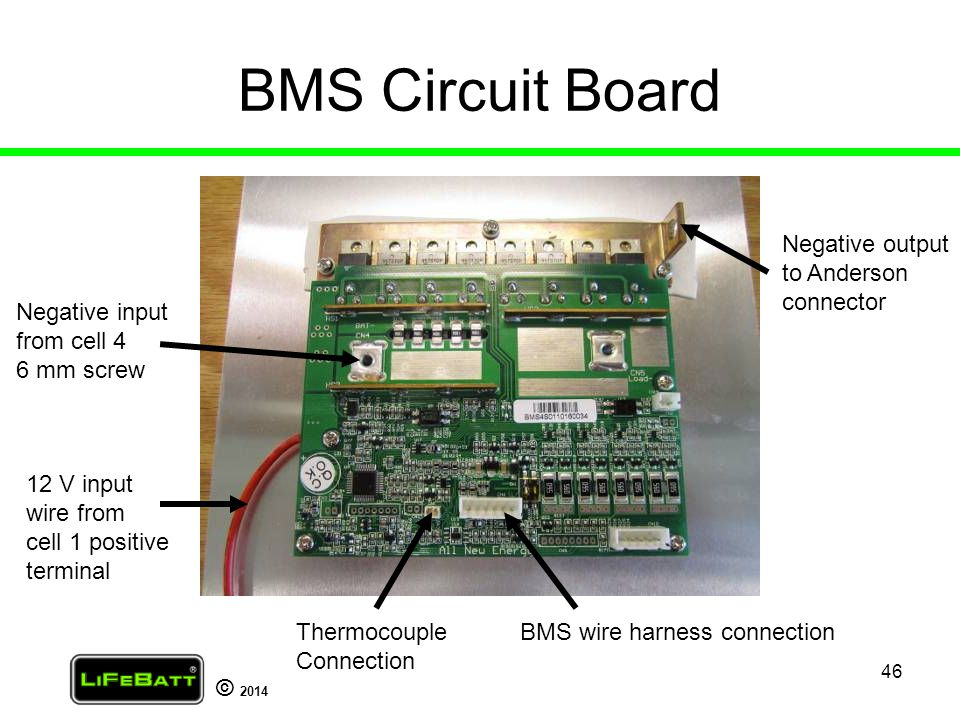 BMS Circuit Board Negative output to Anderson connector Negative input