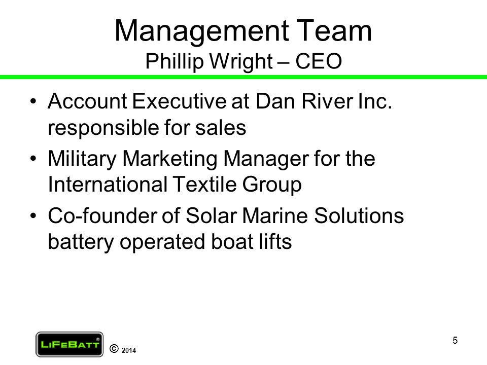 Management Team Phillip Wright – CEO