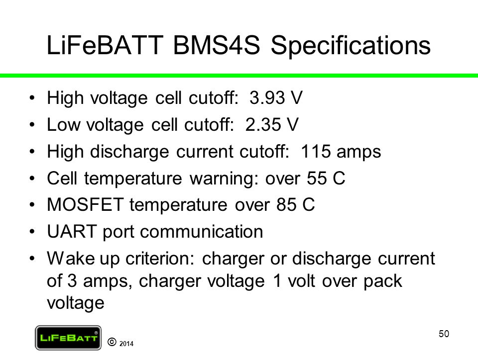 LiFeBATT BMS4S Specifications