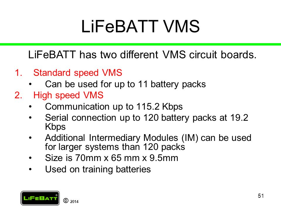 LiFeBATT VMS LiFeBATT has two different VMS circuit boards.
