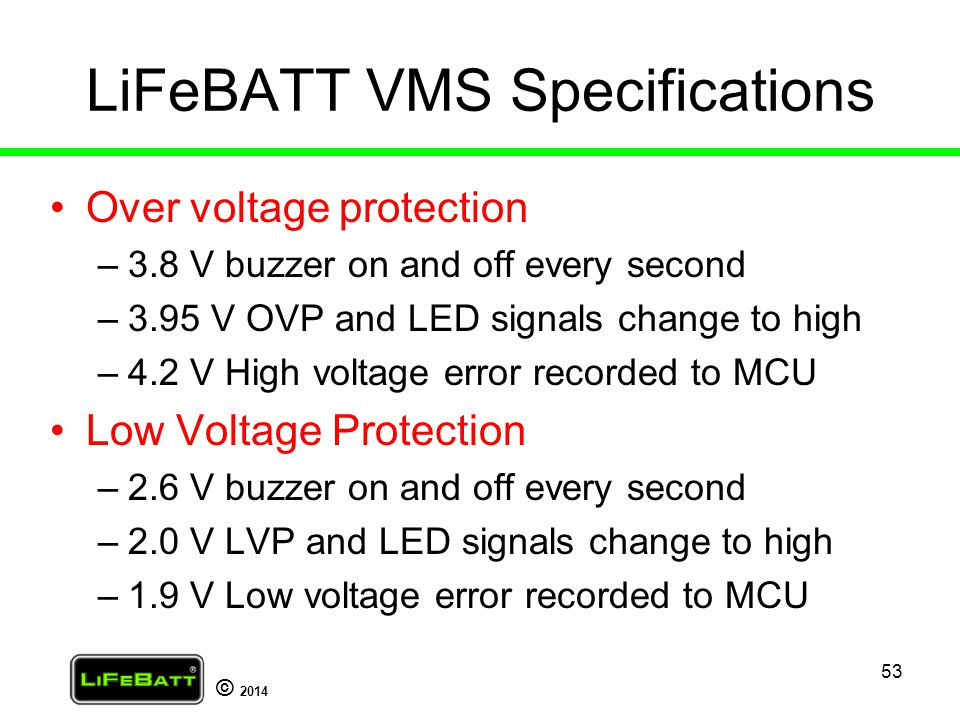 LiFeBATT VMS Specifications