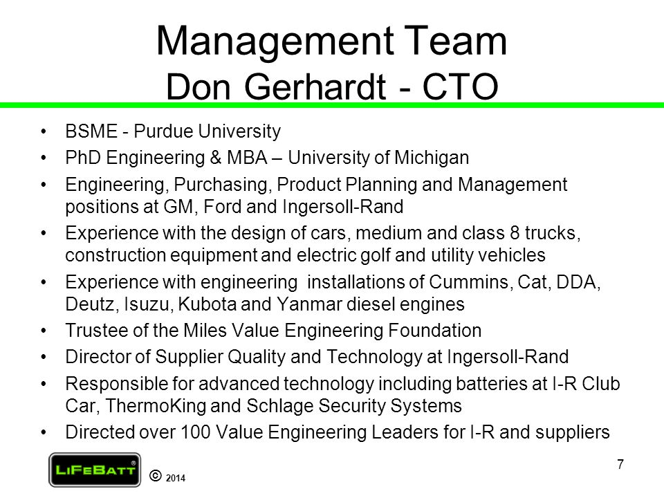 Management Team Don Gerhardt - CTO
