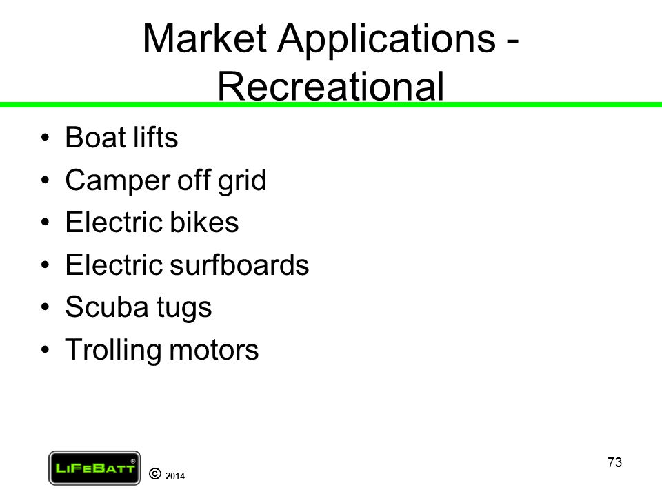 Market Applications - Recreational