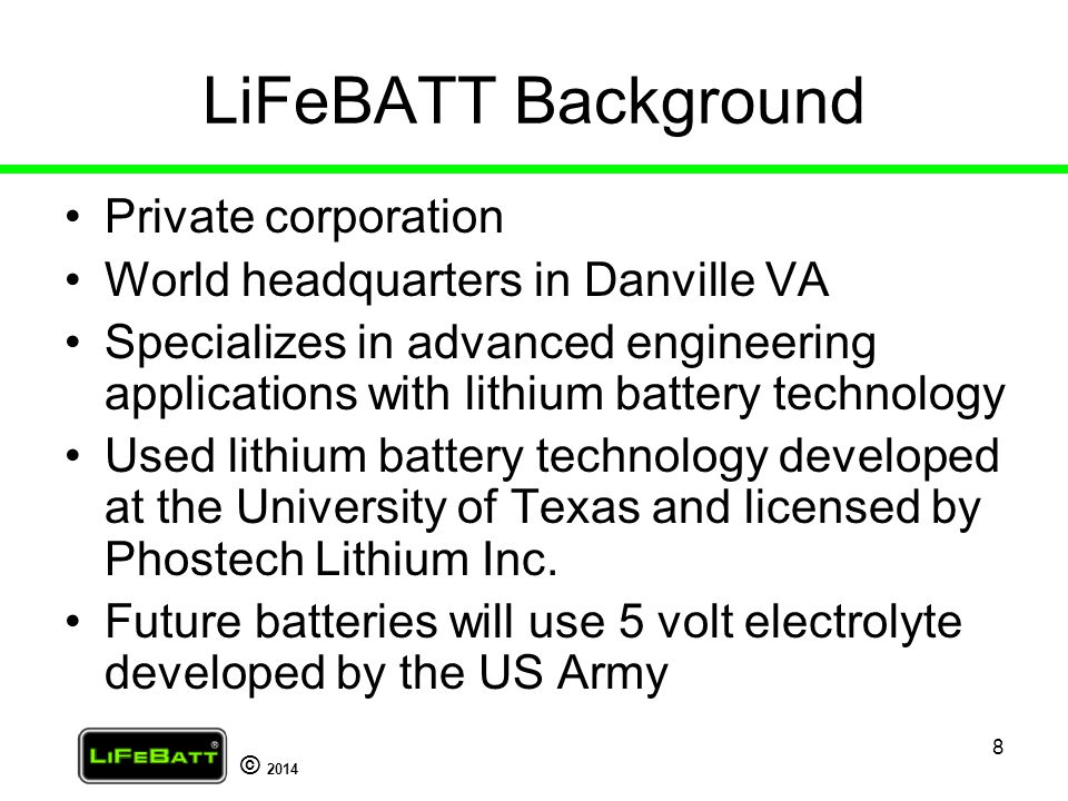 LiFeBATT Background Private corporation