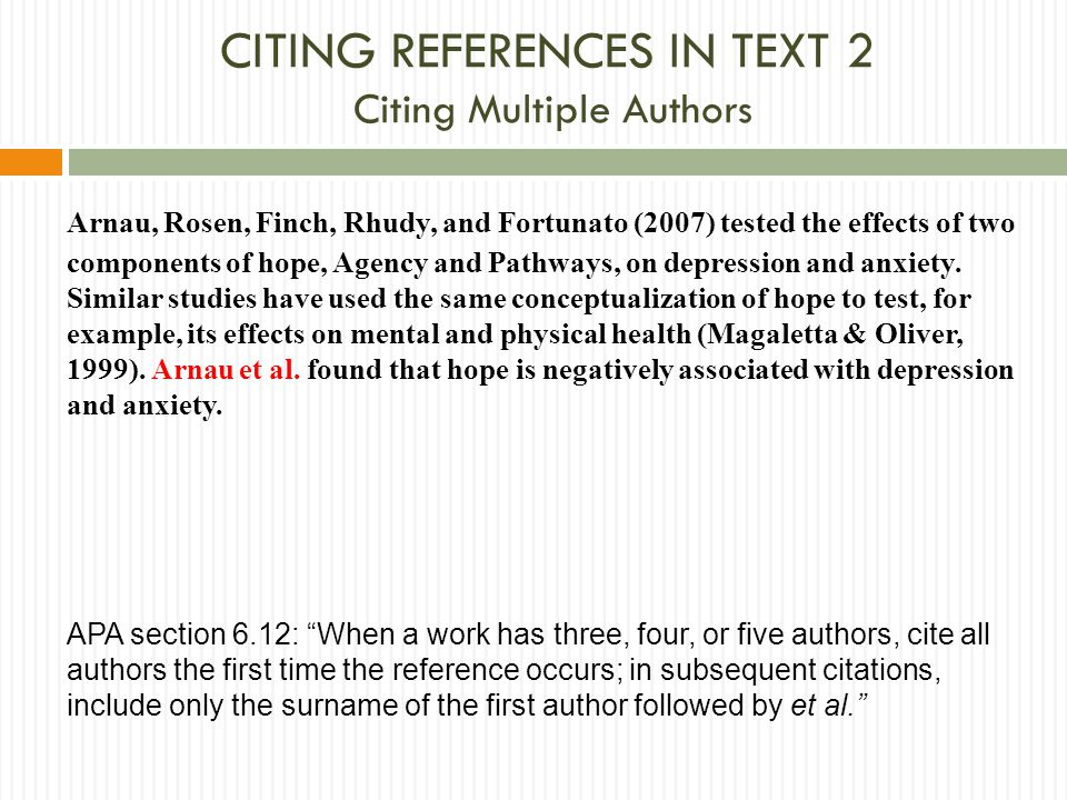 CITING references in text 2 Citing Multiple Authors