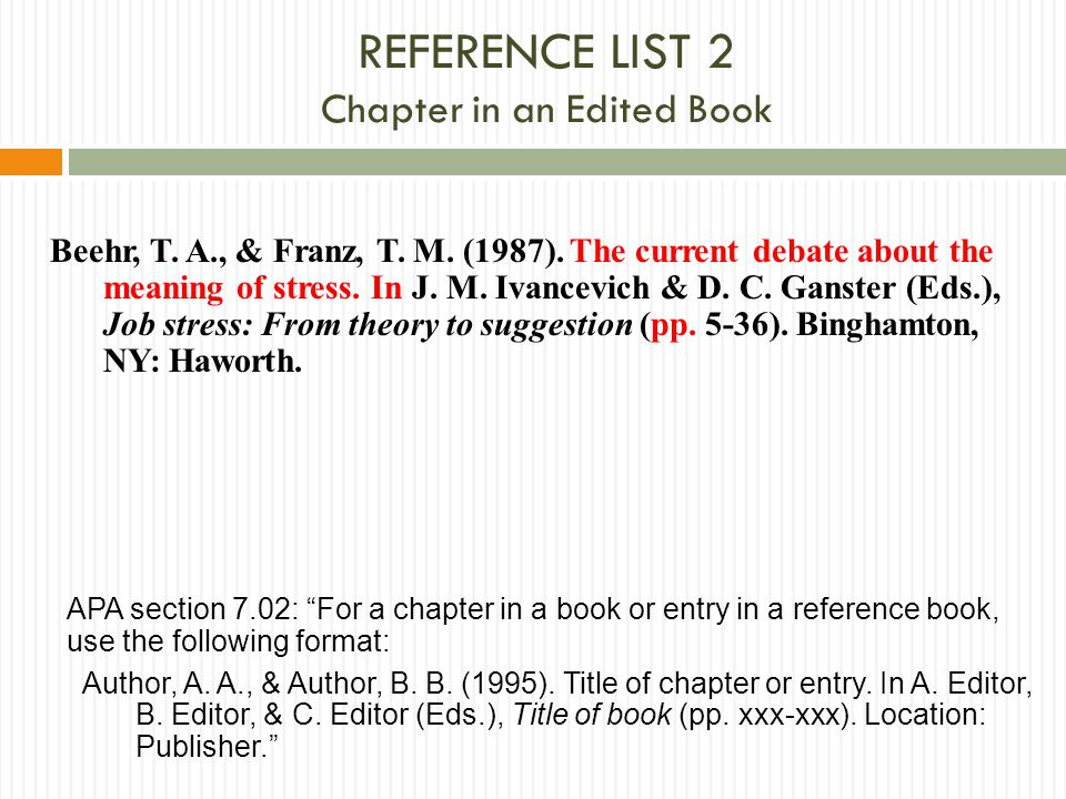 Reference list 2 Chapter in an Edited Book