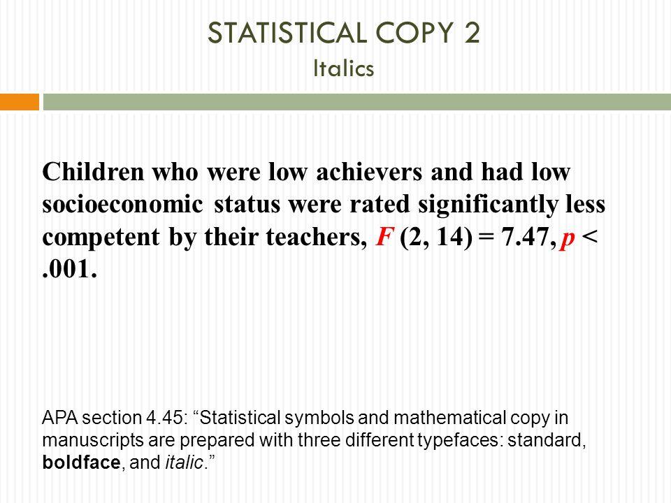 STATISTICAL COPY 2 Italics